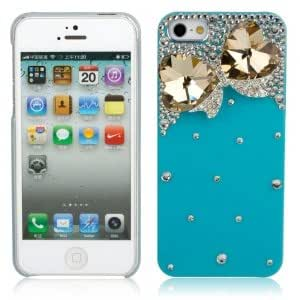 Hearts Style Protective Rhinestone Hard Back Case for iPhone 5 Yellow & Blue