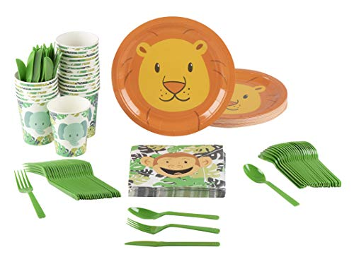 Animal Party Supplies - Serves 24 - Includes Plates, Knives, Spoons, Forks, Cups and Napkins. Perfect Party Pack for Kids Themed Birhtday Parties and Baby Showers, Zoo Animal Pattern ()