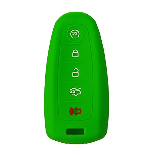 qualitykeylessplus Protective Rubber Silicone 5 Button Cover for Your Ford or Lincoln PEPS Prox Smart Key FCC ID: M3N5WY8609 / M3N5WY8610 (Green)