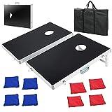 F2C Portable Aluminum Framed Bean Bag Cornhole Toss Game Set Board 3FT 2FT/4FT 2FT W/ 8 Bean Bags& Carrying Case (3ft x 2ft Aluminum Frame) Larger Image