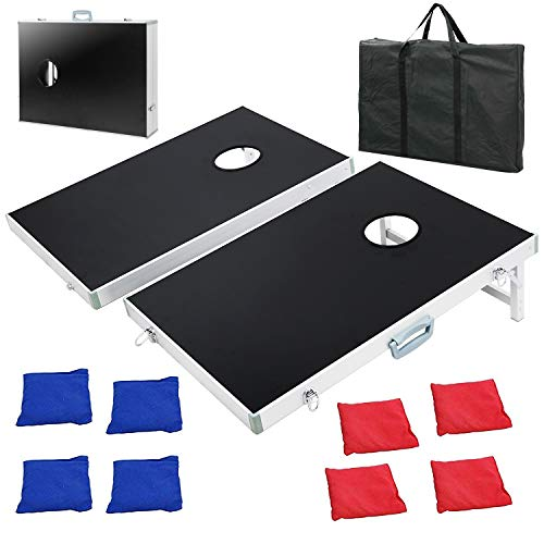 F2C Portable Cornhole Bean Bag Toss Game Set 3FT x 2FT Tailgate Size Aluminum Framed Boards with 8 Bean Bags & Carrying Case
