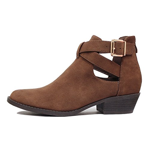 Toe Ankle Pu Chunky Guilty Heel Low Buckle Closed Heart Booties Womens Boots Comfortable Perforated Brownv3 Z6ZPzHq
