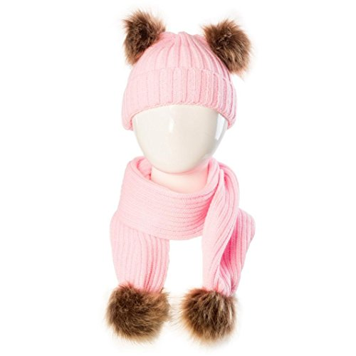 Ribbed Cap Sheer (Iuhan 2PCS Baby Double Ball Cute Winter Kids Baby Cap Snow Warm Set Soft Hat Scarf (Pink))
