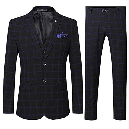 Men's Elegant Slim Fit Plaid Two Buttons Suit Blazer Jacket Tux Vest & Trousers 3-Piece Suit Set Dark Blue ()