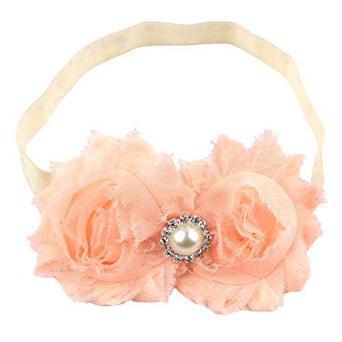 Miugle Baby Girls Headbands with Bows (peach) ()
