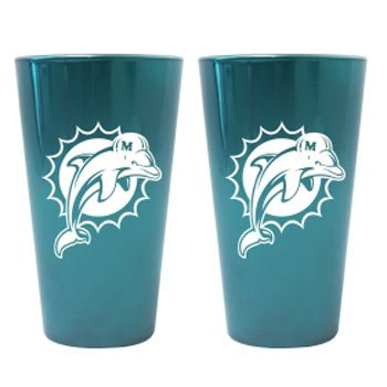 (Miami Dolphins Lusterware Pint Glass Set)