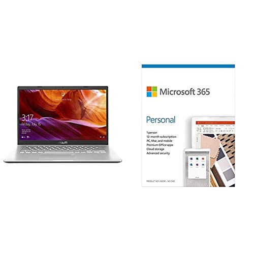 ASUS VivoBook 14 Intel Core i5-1035G1 10th Gen 14-inch FHD Compact & Light Laptop (8GB/1TB HDD/Win 10/Integ Graphics/Transparent Silver/1.60 kg)+Microsoft 365 Personal-One Year Subscription Included