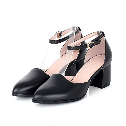 VogueZone009 Women's Buckle Pointed Closed Toe Kitten Heels Pu Solid Pumps Shoes Black VUr23Rrc