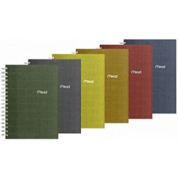 "Mead Spiral Notebook, 1 Subject, College Ruled Paper, 120 Sheets, 9-1/2"" x 6"", Recycled, Assorted Colors (06674)"