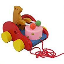 Cute Bear Beat Drums Baby Kids Push Pull Toys Early Learning Educational Wooden Walking Walker Toy Guy-rope Toys For Children Beat Drums Tractors