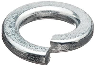 "Regular Split Lock Washer, Steel, Zinc Finish, #10 Bolt Size, 0.200"" ID, 0..3730"" OD, 0.047"" Thick, Pack Of 100"