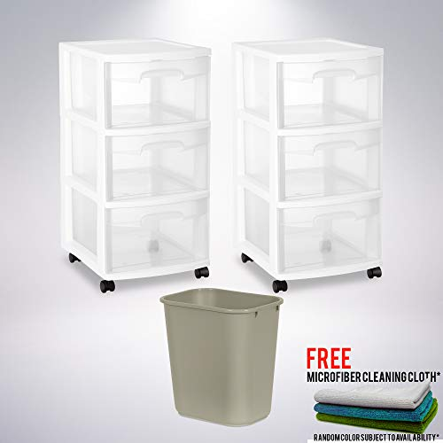 Standard Wastebaskets (3 Drawer Cart, White (Set of 2) Bundle with One (1) Commercial Standard Series Wastebasket with Free Microfiber Cleaning Cloth)