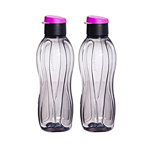 Tupperware Eco Black Flip Top Water Bottle - 1 Ltr. (33 Oz) - Set of 2-Bottles by Tupperware