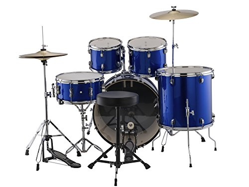- Ludwig Accent Fusion Complete 5 Piece Drum Set Kit with Hardware & Cymbals, Bodacious Blue