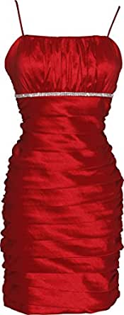 Taffeta Pleated Short Prom Dress LBD, Large, Red