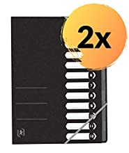 Oxford - Carpetas archivadoras (2 unidades, DIN A4, 390 g, cartón con 12 compartimentos y goma elástica), color azul, color Negro A12