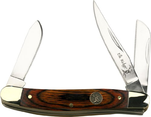 Elk Ridge - Outdoors Manual Folding Knife - Gentleman's Knife - Stockman Knife - 3.5-in Closed, 2.75-in Stainless Steel Blades, Brown Wood Handle - EDC - ER-323W