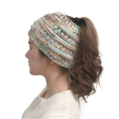 Winter Warm Wool Crochet Knit Hat Headgear,Crytech Women's Ponytail Messy Bun BeanieTail Knitting Headband Fleece Lined Head Wrap Cap Soft Stretch Cable Knitted Ribbed Skull Hat for Girls (White)