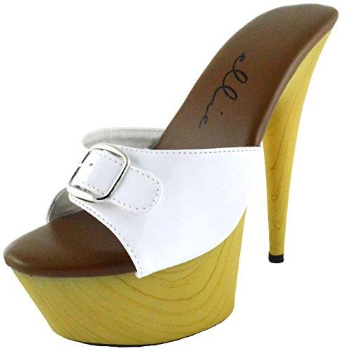 Women's 6 Inch Pointed Heel Mule With Buckle (Platform 8 Mule)