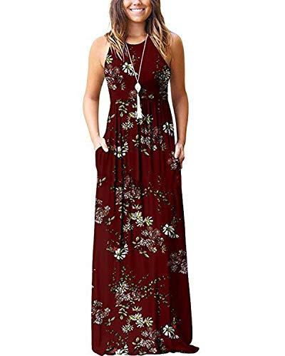 KIDSFORM Women's Casual Maxi Dress Loose Long/Short Sleeve Racerback Long Dresses with Pockets