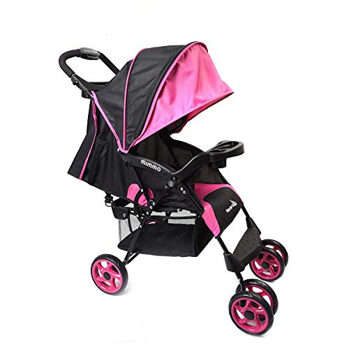 Wonder buggy Lightweight Baby Stroller, Foldable Infant Pushchair with 5-Point Safety Harness, Multi-Position Reclining Seat, Parent and Child Tray, Large Storage Basket, Suspension Wheels, Pink