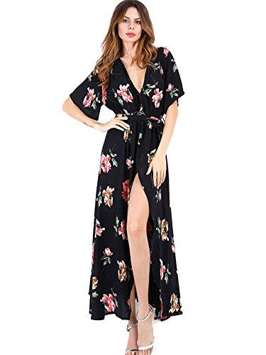 - Milumia Women's Boho Deep V Neck Floral Chiffon Wrap Split Long Maxi Dress Medium Black
