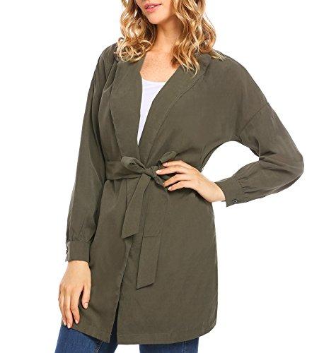 Zeagoo New Women Casual Long Sleeve Solid Slit Side Belt Trench Coat Cardigan, Armygreen, Medium