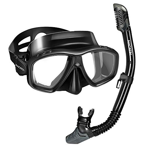NACATIN Dry Top Snorkel Package Set Anti-Fog Scuba or Free Diving Snorkel Mask with Tempered Glasses, Adjustable Strap and Soft Silicone Tube,Professional Safety Gear for Adult Youth