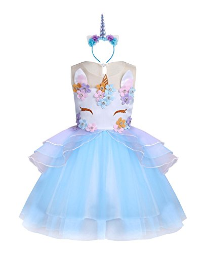 KABETY Baby Girl Unicorn Costume Pageant Flower Princess Party Dress with Headband (150cm, Blue)
