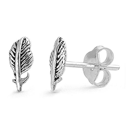 - Sterling Silver Feather Stud Earrings
