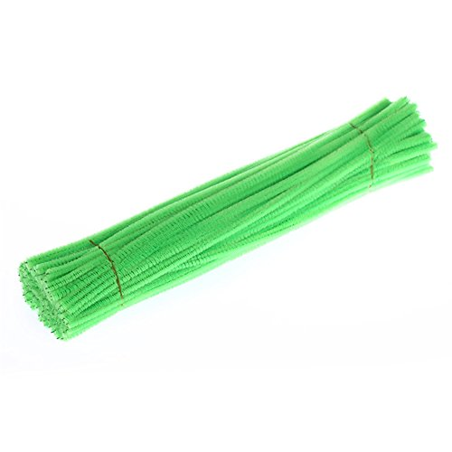 Lanlan 100PCS Pipe Cleaners Chenille Stem Educational Kindergarten DIY Toy Halloween Christmas Birthday Gift Fluorescent green