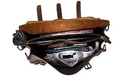 Kissloves Genuine Leather Briefcase, Men\'s Shoulder Handbag Messenger Bag, 17 Inch Laptop Bag Tote, Satchel Bag Brown
