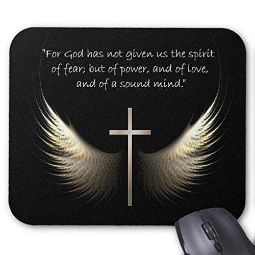 Holy Spirit Wings with Cross and Scripture Verse Mouse Pad 18