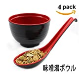 [Set of 4] 味噌湯ボウルLarge Melamine Noodle Soup Bowls and Spoons (Red and Black) ~ We Pay Your Sales Tax