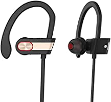 Bluetooth Headphones with Mic Bass Noise Cancelling, Metal Decorate Bluetooth HD Stereo Headset in-Ear Earbuds Earphones with Flexible Ear Hooks