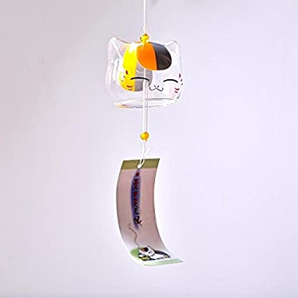 MagiDeal Vetro Vento Carillon Campana Gatto Casa Giardino Pensile Arredamento Regalo Fai da Te #1