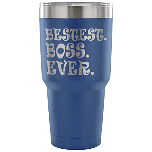 (ArtsyMod BESTEST BOSS EVER Premium Vacuum Tumbler, Perfect Boss Day Gift! Unique Gifts From Employee, Stainless Steel Durable Water Tumbler, 30oz. (Blue))