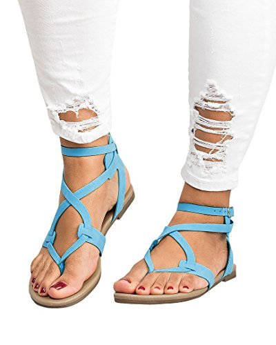 ThusFar Women Casual Clip Toe Flat Thong Sandals Strappy Ankle Strap Buckle Leather Sandals Shoes Green