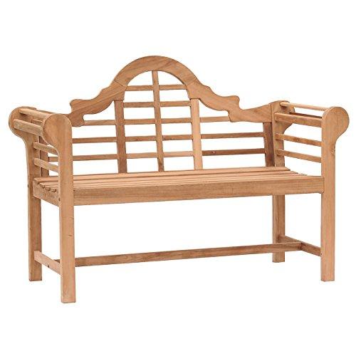 Southern Enterprises Lutyens Patio Bench in Natural Teak - CR6709