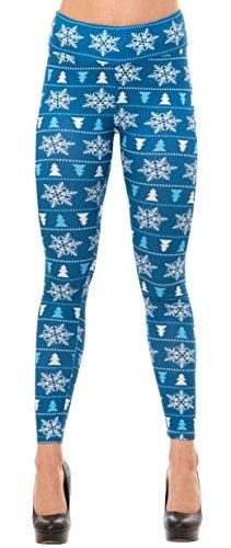 Just One Women's Winter Holiday Christmas Leggings (Blue Snowflake, (Halloween Costume Blue Leggings)