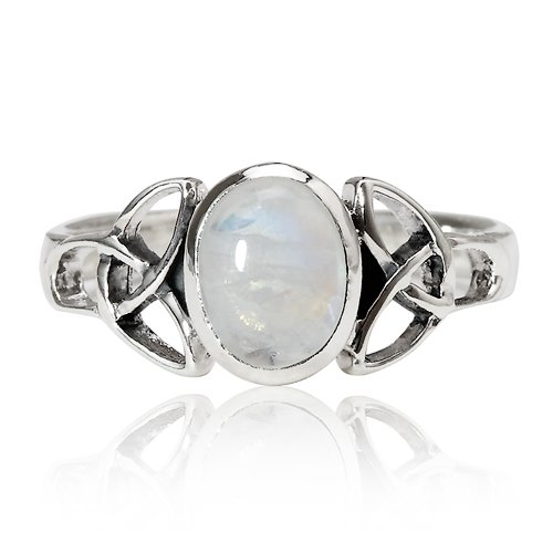 Chuvora 925 Sterling Silver 9 mm Genuine White Oval Moonstone Celtic Band Ring - Nickel Free Size -