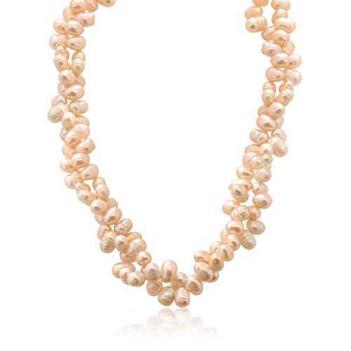 Gem Stone King Amazing 8mm Pink Double Twist Cultured Freshwater Pearl Necklace - Pearl Freshwater Stone