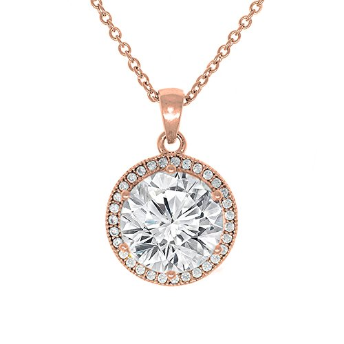 Cate & Chloe Mariah 18k Rose Gold Plated Round Cut CZ Halo Pendant Necklace - Cubic Zirconia Halo Cluster Rose Gold Necklace w/Solitaire Round Cut Crystal - Wedding Anniversary Jewelry - MSRP - 150 by Cate & Chloe