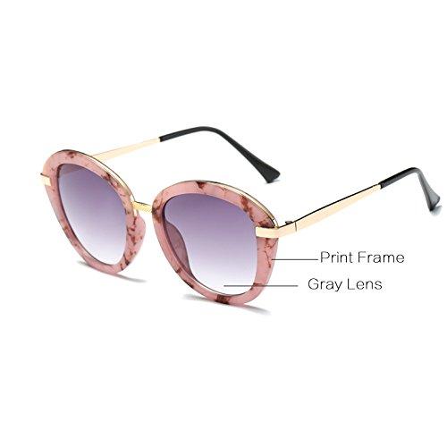 AT543 Negro Femme y de persianas Zygeo de Gafas UVA 100 Imprimir UVB Hembra Elegante Color Las C6 Gafas Azul Informal de Sol Cristales Gafas C2 Las Grises wqBR7q