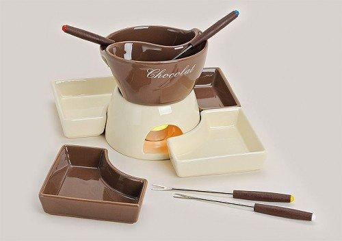 Schokofondue XXL Set für 4 Personen Schokoladenfondue 15 cm / 500ml Topf inkl. 4 Gabeln
