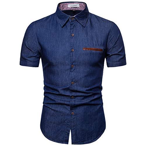 al Jeans Shirt Short Sleeve Button Down Dress Shirt Dark Blue XXL ()