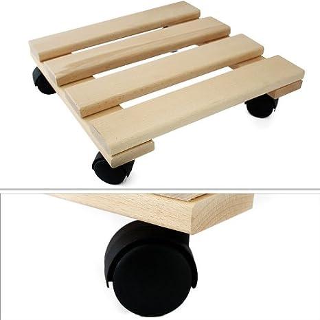 Base con ruedas para plantas, madera maciza, cuadrado - 30 x 30 cm: Amazon.es: Hogar