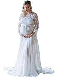 f831ef551d268 Women's Long Sleeve V Neck White Lace Chiffon Floral Maternity Gown Maxi  Photography Dress