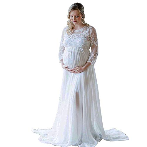 Women's Long Sleeve V Neck White Lace Chiffon Floral Maternity Gown Maxi Photography Dress (White, L)