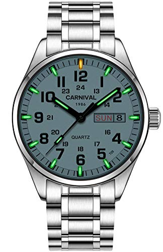 PASOY Men's Luminous Tritium Watch Stainless Steel Swim Date Green Light Sapphire Glass Quartz Watches